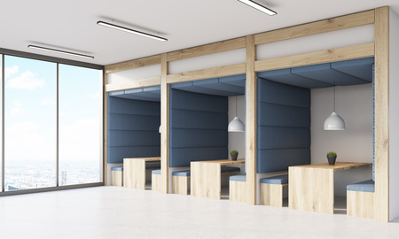 panoramic windows: Dining area in building with panoramic windows in skyscraper. Concept of diner at workplace. 3d rendering.