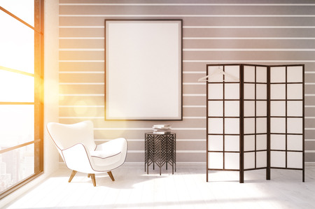 dressing up: Dressing room with white armchair, coffee table, screen and vertical poster on wall. Concept of modern apartment. 3d rendering. Mock up. Toned image