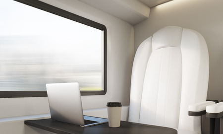 passenger compartment: White seat in train with small table. Laptop and coffee cup standing on black surface. Concept of comfortable journey. 3d rendering
