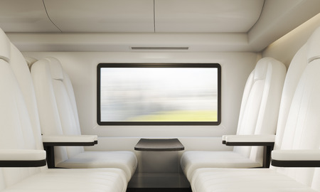 compartment: Four white leather armchairs in modern train compartment in Europe. Concept of giving up your car for the good of our planet. 3d rendering.