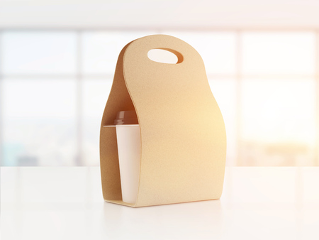 Carton bag for carrying paper coffee cup standing on table in office with large windows. Concept of additional energy and beverage. 3d rendering. Toned image