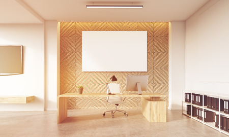 ceo: Front view of CEO table with large horizontal poster on wooden wall and bookshelves in the corner. Concept of successful and charismatic leader. 3d rendering, mock up, toned image