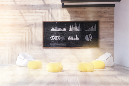 criterion: Chalkboard with companys stats in modern office. Pillows and armchairs on floor. Concept of data analysis. 3d rendering. Toned image