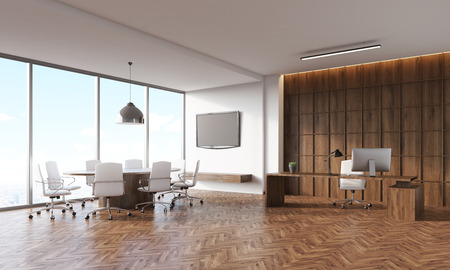tv set: Conference room interior with round and rectangular tables, panoramic window, tv set on wall. Concept of legal company office. 3d rendering. Mock up