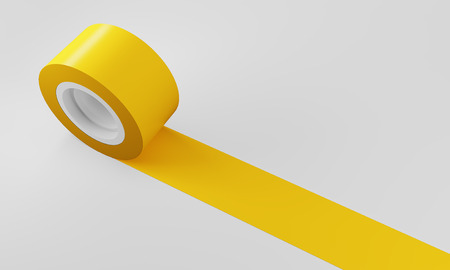 rolled up: Yellow roll of insulating tape against white background. Concept of renovation and construction work. 3d rendering. Mock up