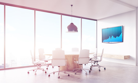 conference table: Brokers office with conference table and blue graph on lcd screen on wall. Panoramic window. Concept of trading and financial market. 3d rendering, toned image Stock Photo