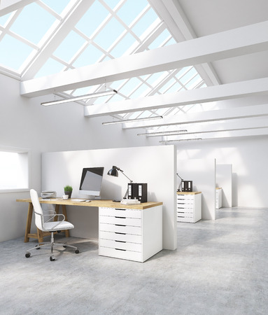 office cubicle: White office interior in attic with computer screen, desk and binders. Concept of international corporation. 3d rendering