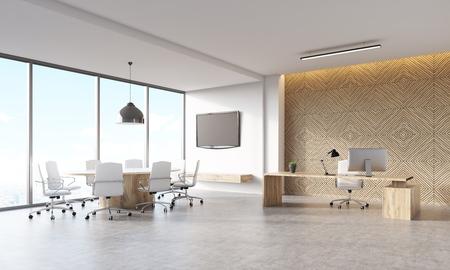 대도시의 마케팅 회사 CEO 사무실. 나무 장식 패널, 워크 스테이션, 회의 영역 및 벽에 tv와 보스의 책상. 관리자의 작업의 개념입니다. 3d 렌더링, mock up 스톡 콘텐츠