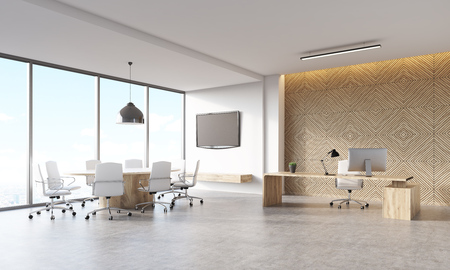 CEO office in marketing company in large city. Wooden decorative panel, bosss desk with workstation, meeting area and tv on wall. Concept of managers work. 3d rendering, mock up