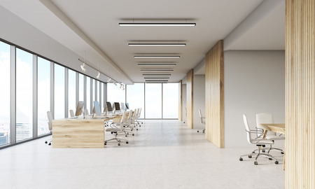 Legal company office with wooden and white walls, rows of computers and several conference rooms. Concept of business process. 3d rendering Stock Photo