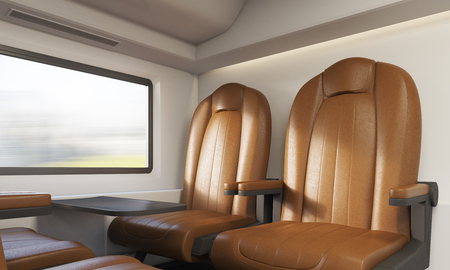 passenger compartment: Leather armchairs in intercity train compartment. Concept of travelling and sightseeing. 3d rendering