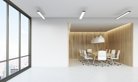 view of an atrium in a building: Panoramic window in office lobby with conference room in background. Concept of negotiations. 3d rendering. Mock up.