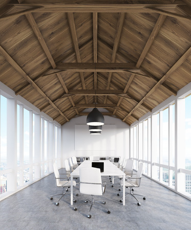 attic: Office in attic of building with panoramic windows. Long row of tables with computers. Concept of web design company. 3d rendering