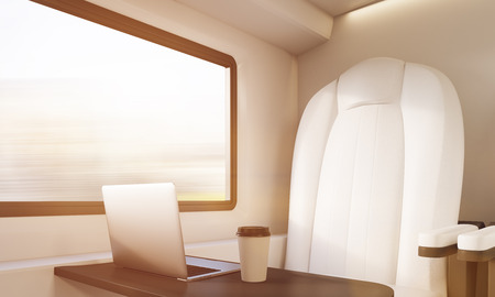passenger compartment: Corner of modern train compartment with white and black armchair, small table with laptop an paper cup of coffee. Concept of business trip. 3d rendering. Toned image