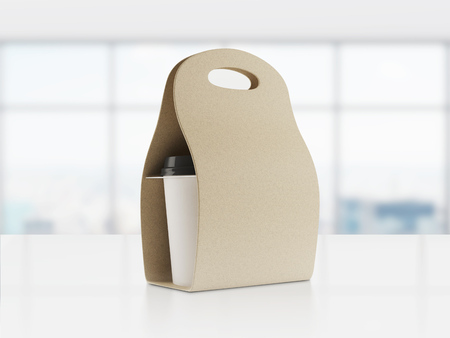 paperboard packaging: Carton bag for carrying paper coffee cup standing on table in office with large windows. Concept of energetic beverage. 3d rendering. Toned image Stock Photo