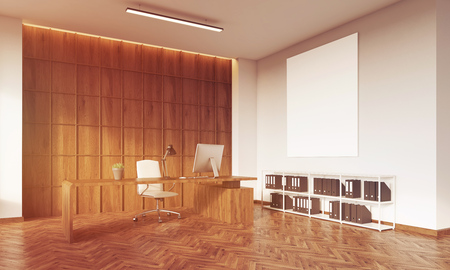 leather armchair: CEO office with wooden table, wooden wall, white leather armchair, desktop and book shelves with binders. Big vertical poster on wall. Concept of management. 3d rendering. Mock up. Toned image