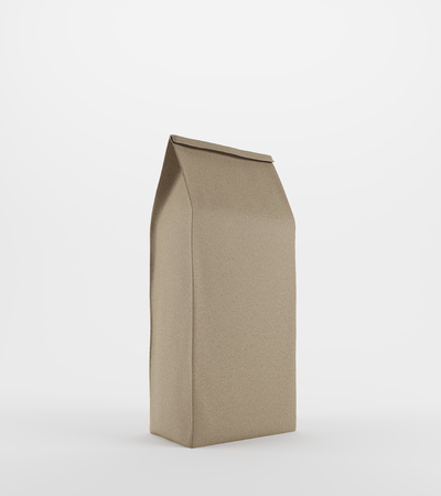 pouch: Beige lunch paper bag standing against white background. Concept of healthy homemade food and eating it at your workplace. 3d rendering, mock up.