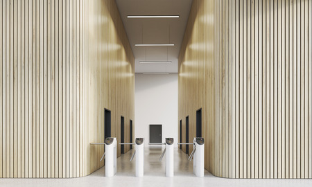 automatic doors: Turnstiles in modern companys office with wooden walls. Concept of entering business world is not easy in our time. 3d rendering, mock up Stock Photo