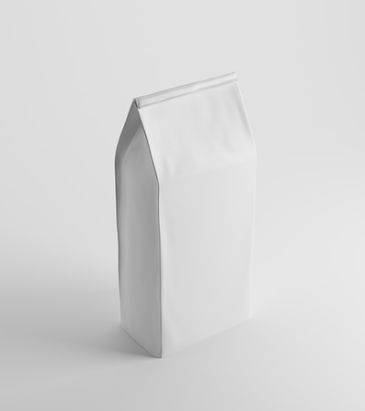 pouch: White lunch paper bag standing against white background. Concept of healthy food prepared at home and eating at your workplace. 3d rendering, mock up.