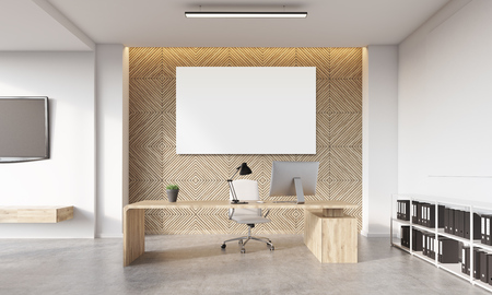 Head of the company's desk with workstation, large horizontal poster hanging on wall and bookshelves in corner. Concept of comfortable workplace. 3d rendering, mock up