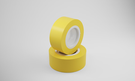 dielectric: Two yellow insulation tape rolls lying on gray surface. Concept of electric work and renovation. 3d rendering, mock up Stock Photo