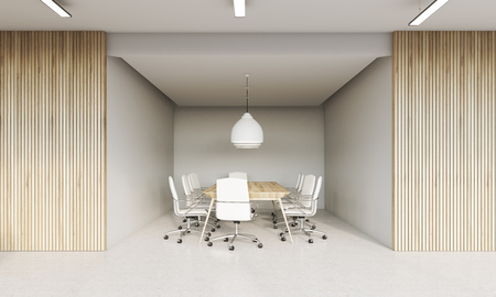 unoccupied: Meeting room interior with wooden and white walls. Large table surrounded by white office chairs. Concept of board meeting. 3d rendering