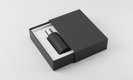 eau: Black and silver perfume bottle in white and black box on white background. Concept of new scent promotion. 3d rendering. Mockup