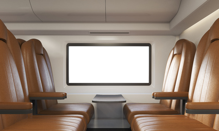 passenger compartment: Side view of brown leather armchairs in train with window. Concept of public transportation. 3d rendering