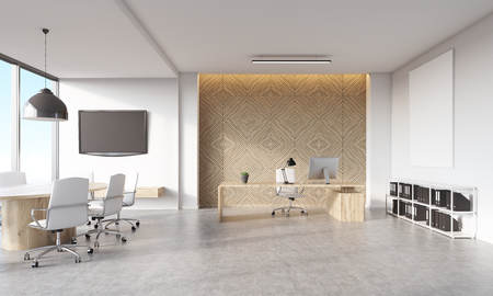 lcd: Head of companys office in big city with decorative panel behind desk with computer, lcd tv on wall and conference table. Concept of effective work. 3d rendering, mock up Stock Photo