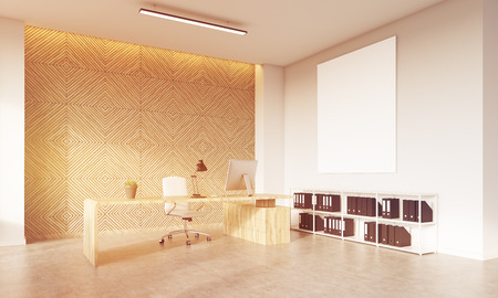 ceo: CEO desk with computer, large vertical poster, bookshelves on floor. Concept of financial company. 3d rendering, mock up, toned image