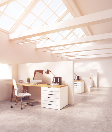 attic: Office room interior in attic with cubicles, computer desk, desktop and folders. Concept of teamwork. 3d rendering. Toned image