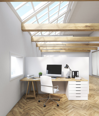 telemarketing: Office interior with tables, computers, windows in attic. Concept of telemarketing. 3d rendering. Mock up.