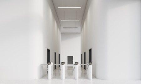 automatic doors: Turnstiles in office with white walls. Multiple black doors in corridor of the building. Concept of modern architecture and business building. 3d rendering. Mock up Stock Photo