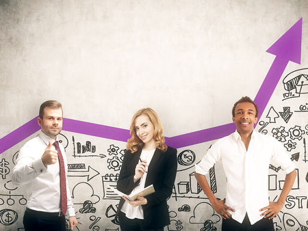 african business: Group of colleagues posing near concrete wall with startup images and increasing purple graph. Concept of good business model. Toned image Stock Photo