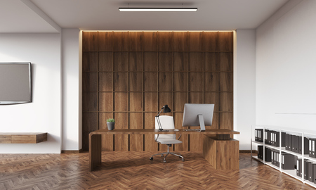 set table: Room with white and wooden wall, tv set, table, desktop and book shelves in corner. Concept of accounting company. 3d rendering