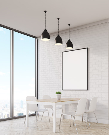 empty frame: Table in dining area with panoramic window. Vertical poster hanging on white brick wall. Concept of modern flat. 3d rendering. Mock up.