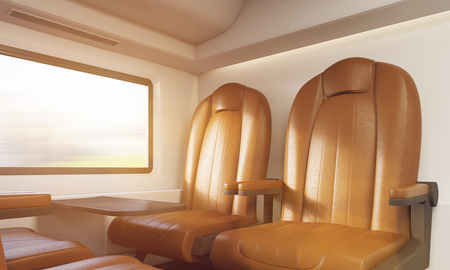 Brown leather armchairs in first class train interior. Small table attached to wall, window above it. Concept of travelling. 3d rendering, toned image. Stock Photo