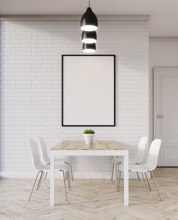 cosy: Wooden dining table in flat with chairs and picture hanging on white brick wall. Concept of cosy home. 3d rendering. Mock up