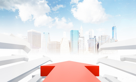 smaller: Large red arrow in the center and smaller white arrows by its sides pointing to modern city with skyscrapers. Concept of development and business promotion in big city. 3d rendering. Stock Photo