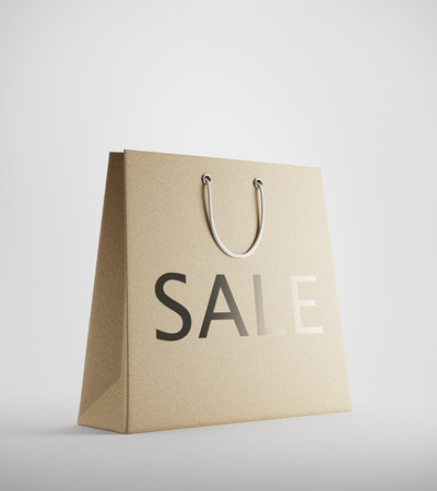buying time: Beige shopping bag with sale text standing against white background. Concept of discounts and buying at the right time. 3d rendering. Mockup