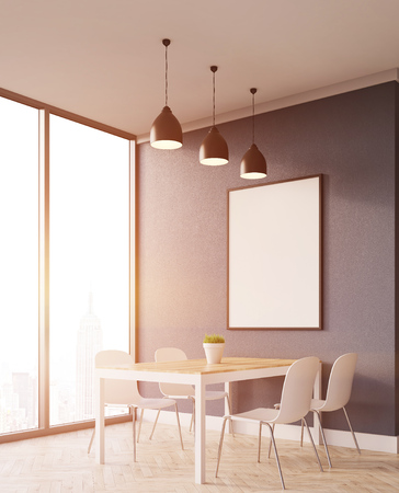 eating area: Corner view of dining area in apartment with panoramic window. Concept of eating at home. 3d rendering. Mock up. Toned image