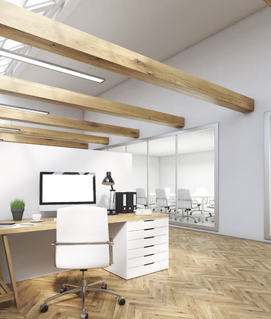 office cubicle: Office room interior with cubicles, computer screen, lamp and folders. Meeting room in background. Concept of international company. 3d rendering. Mock up