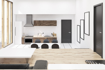 cosy: Front view of kitchen in modern studio apartment with panoramic windows. Concept of cosy home. 3d rendering