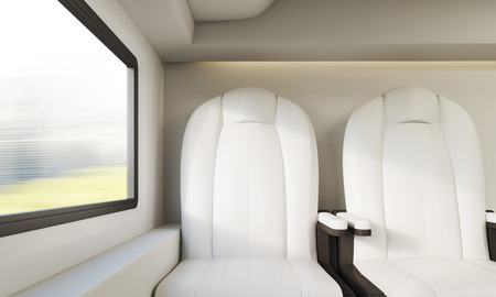 compartment: Two white leather armchairs near small window in modern train compartment. Concept of public transportation. 3d rendering.
