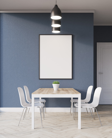 Table for family dinner in flat with minimalist style. Concept of home gathering. 3d rendering. Mock up.