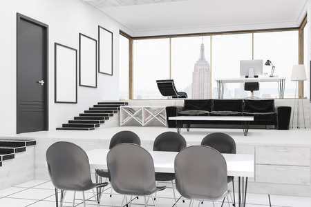 ceo office: Interior of CEO office in contemporary New York building. Concept of working hard and resting at your workplace. 3d rendering
