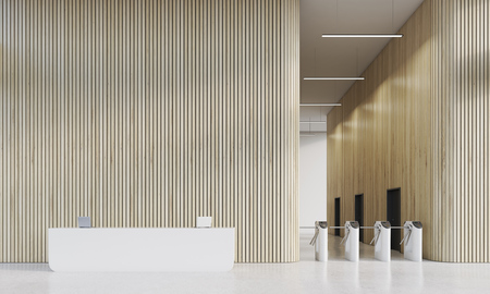 firms: White reception desk in companys office with turnstiles. Concept of modern firms interior. 3d rendering, mock up