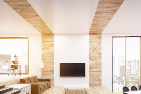 Wohnzimmer-Interieur Mit Home-Office, Ruheraum Mit Fernseher Und ...