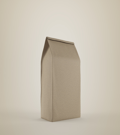 Beige lunch paper bag standing against beige background. Concept of healthy homemade food and eating it at your workplace. 3d rendering, mock up.