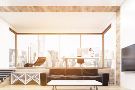 cosy: Large sofa standing near three tables in large and cosy office with panoramic window. Concept of luxury office. 3d rendering. Toned image